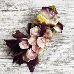 Vintage 🌺 Deborah Rhodes Gold & Floral Hair Comb